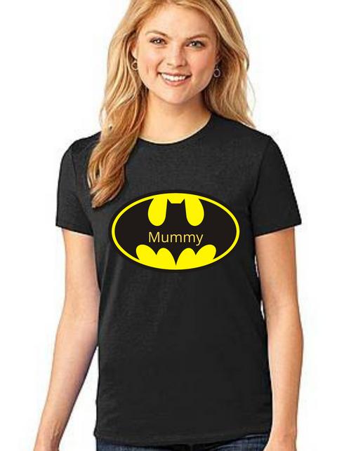 Mommy of the Birthday Boy Batman theme Tshirts Mom Life T-Shirt Short Sleeve Summer Mommy Tshirts