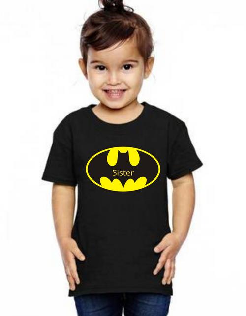 Sister of the Birthday bday boy Batman theme tshirts  kids Tshirt , bday tshirts,girls tshists