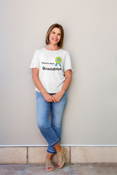 Roma World's Best Grandma tshirt with batch design, Gradma  Tshirt Mom Life T-Shirt Short Sleeve Summer Mommy Tshirts, Women tshirts