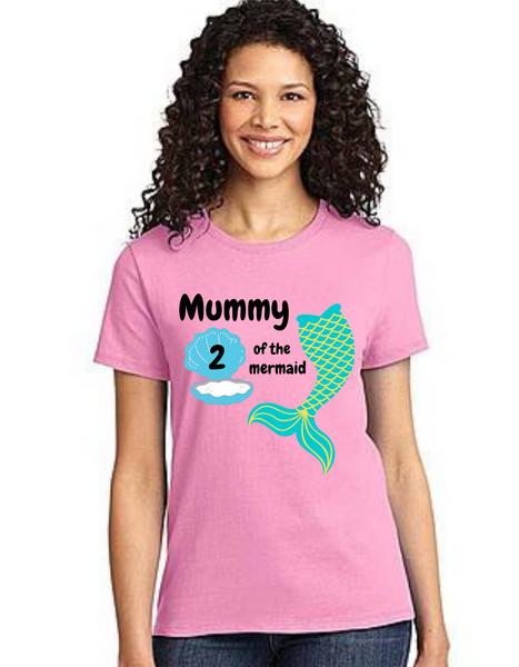 Mommy of the Birthday Girl Mermaid tail theme ,Tshirts Mom Life T-Shirt Short Sleeve Summer Mommy Tshirts