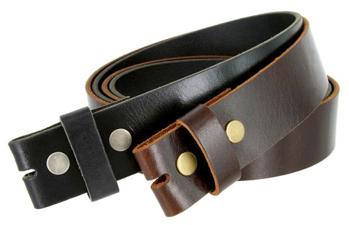 """BS103 One Piece Full Grain Buffalo Oil Tanned Leather Belt Strap with Snaps on 1-1/2""""(38mm) Wide"""