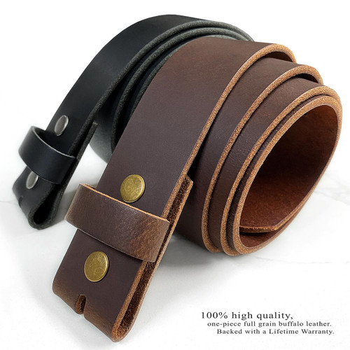 """BS1300 Genuine Full Grain Leather Casual Jean Belt Strap with Snaps on 1-1/2""""(38mm) Wide"""