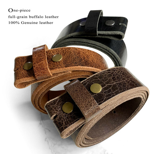 """BS304 Genuine Full Grain Vintage Leather Belt Strap with Snaps on 1-1/2""""(38mm) wide"""