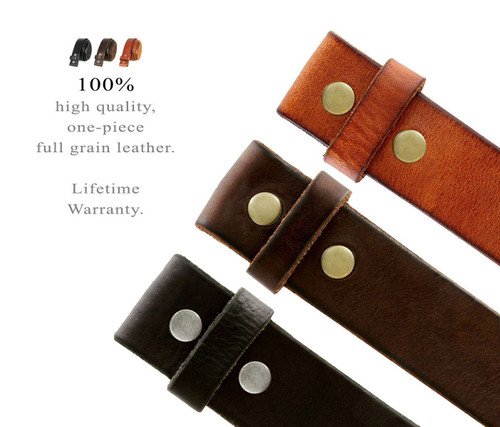 """BS001 Replacement Belt Genuine Full Grain Leather Belt Strap Without Slot Hole 1-1/2""""(38mm) wide"""