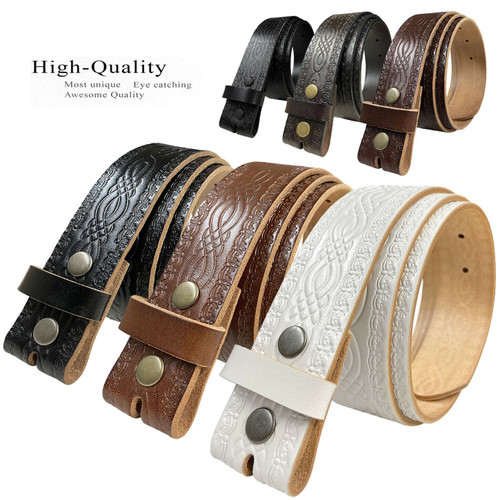 """BS085 Genuine Full Grain Engraved Embossed Leather Belt Strap with Snaps on 1-1/2""""(38mm) Wide"""