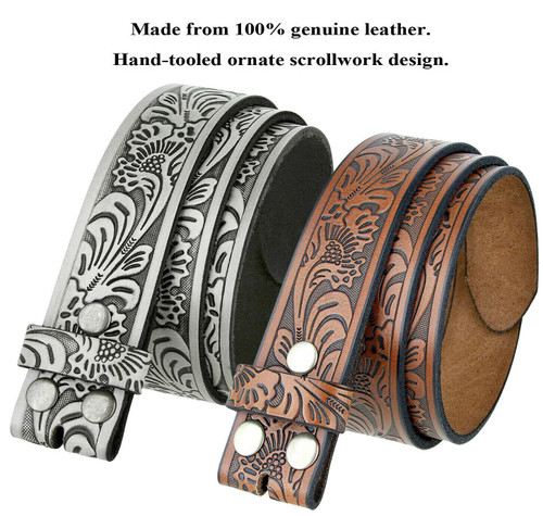 """BS220 Western Floral Engraved Embossed Tooled Genuine Leather Belt Strap with Snaps on 1-1/2""""(38mm) Wide"""