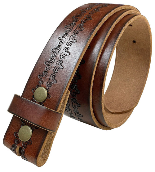 """BS042 Vintage Tooled Genuine Full Grain Leather Belt Strap with Snaps on 1-1/2""""(38mm) Wide"""