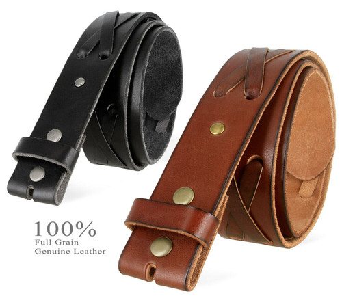 """TB105 Western X-Laced Genuine Full Grain Leather Belt Strap with Snaps on 1-3/4""""(45mm) Wide"""