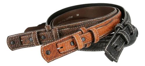 """RB2015 Genuine Leather Western Bison Ranger Belt Strap 1-3/8""""(35mm) Taper to 3/4""""(19mm) Wide"""
