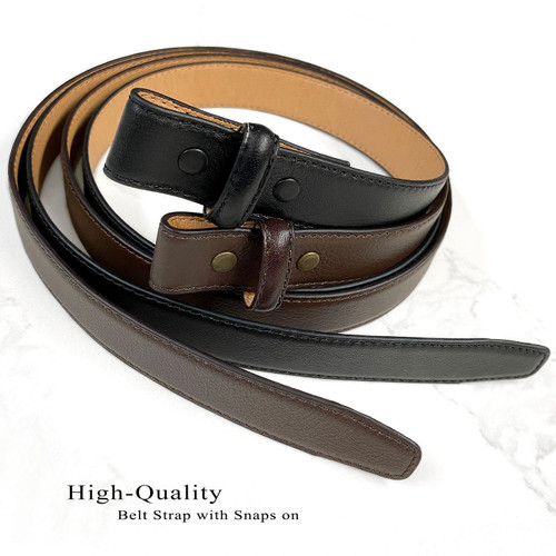 """BS19091 Belt Strap For Pressure Buckle """"No Holes"""" Replacement Genuine Leather Dress Belt Strap 1""""(25mm) Wide"""