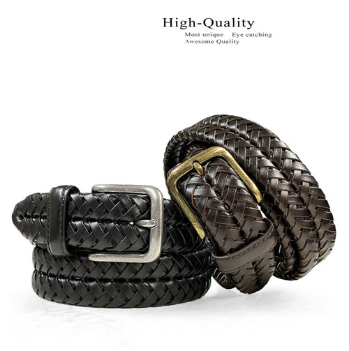 """20150 Braided Belt Genuine Leather Braided Woven Casual Dress Belt 1-1/4""""(32mm) Wide"""