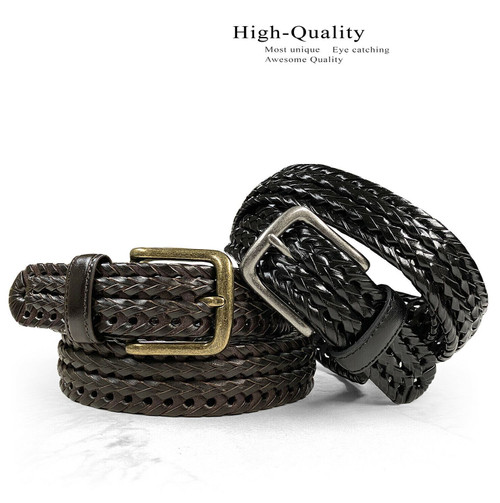 """20153 Braided Belt Genuine Leather Double Braided Woven Casual Dress Belt 1-1/4""""(32mm) Wide"""