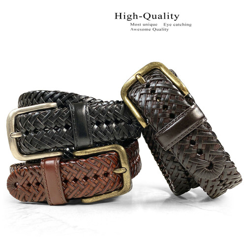 """20154 Men's Genuine Leather Braided Woven Casual Dress Belt 1-1/4""""(32mm) Wide"""