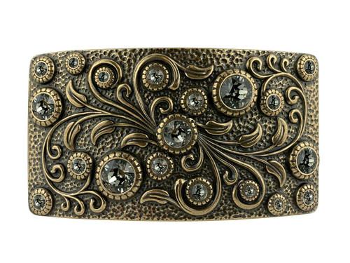 HA0850 OEB Rhinestone Crystal Belt Buckle Antique Rectangle Floral Engraved Buckle (Black-Diamond)