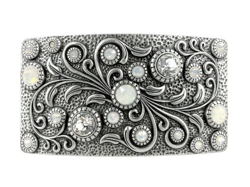 HA0850 LASRP Rhinestone Crystal Belt Buckle Antique Rectangle Floral Engraved Buckle (Crystal-White Opal)