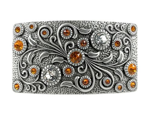 HA0850 LASRP Rhinestone Crystal Belt Buckle Antique Rectangle Floral Engraved Buckle (Crystal-Tangerine)