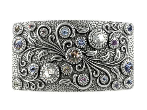HA0850 LASRP Swarovski rhinestone Crystal Belt Buckle Antique Rectangle Floral Engraved Buckle (Crystal-Paradise Shine)
