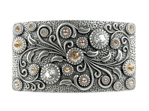 HA0850 LASRP Swarovski rhinestone Crystal Belt Buckle Antique Rectangle Floral Engraved Buckle (Crystal-Light Silk)
