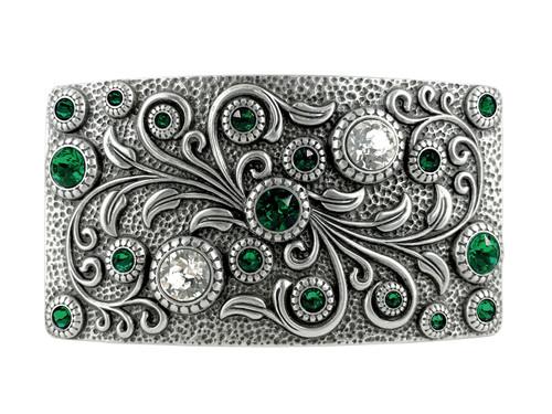 HA0850 LASRP Rhinestone Crystal Belt Buckle Antique Rectangle Floral Engraved Buckle (Crystal-Emerald)