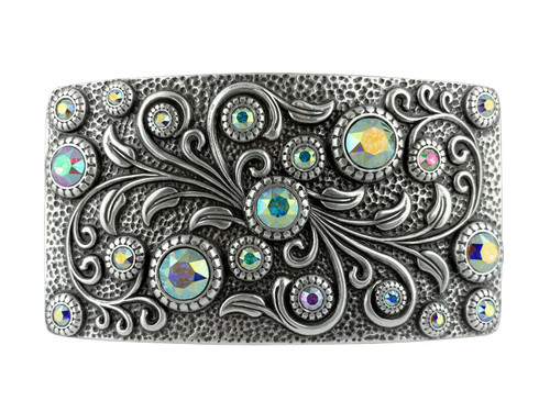 HA0850 LASRP Swarovski rhinestone Crystal Belt Buckle Antique Rectangle Floral Engraved Buckle (Crystal-AB)