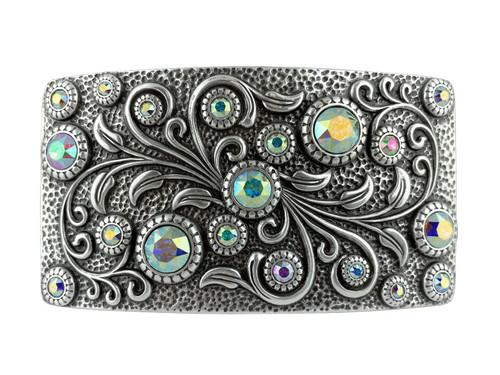 HA0850 LASRP Rhinestone Crystal Belt Buckle Antique Rectangle Floral Engraved Buckle (Crystal-AB)