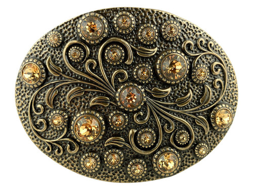 Rhinestone Crystal Belt Buckle Brass Oval Floral Engraved Buckle - Brass-Lt Col Topaz