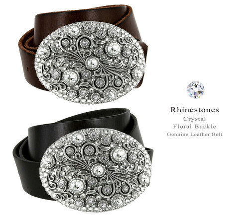 """Timeless Tranquility Rhinestone Crystal Floral Buckle Genuine Full Grain Leather Belt 1-1/2""""(38mm) Wide"""