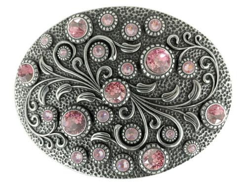 Rhinestone Crystal Belt Buckle Antique Oval Floral Engraved Buckle - Silver-Lt Rose