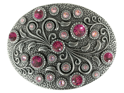 Rhinestone Crystal Belt Buckle Antique Oval Floral Engraved Buckle - Silver-Fuchsia Lt-Rose