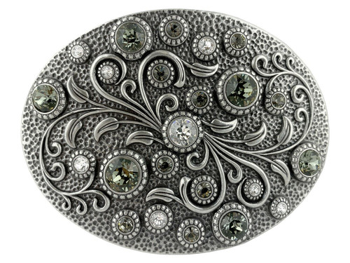Swarovski rhinestone Crystal Belt Buckle Antique Oval Floral Engraved Buckle - Silver-Crystal Black Diamond