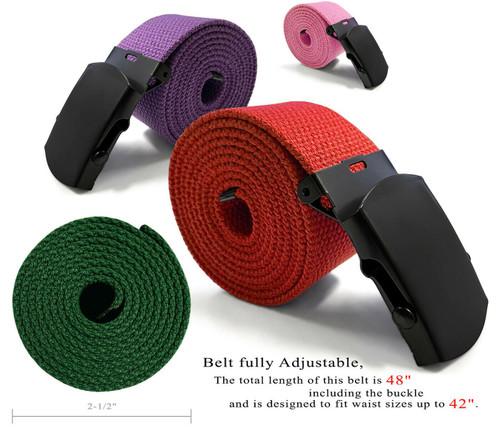 "Military Belt Canvas Belt Web Belt Non Leather Belt One Size fits all,  1-1/2""(38mm) Wide- Black Buckle"