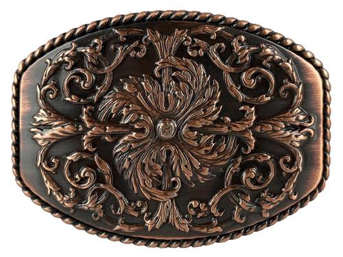 """HA0016 Copper Floral Engraved Ornate Western Design Belt Buckle Fits 1-1/2""""(38mm) Belt"""