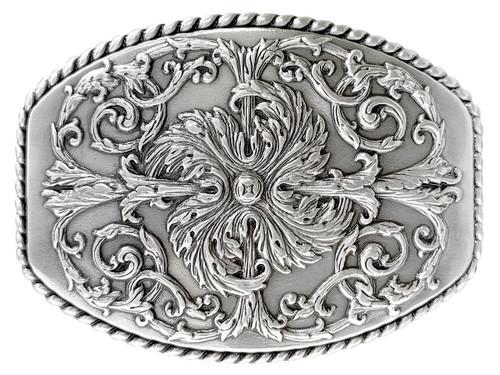 """HA0016 LASRP Antique Silver Floral Engraved Ornate Western Design Belt Buckle Fits 1-1/2""""(38mm) Belt"""