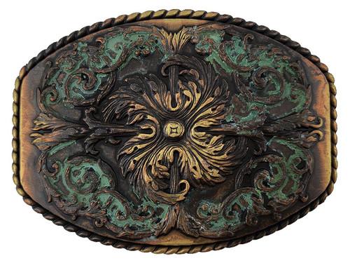 """HA0016 MOEB Antique Brass Patina Floral Engraved Ornate Western Design Belt Buckle Fits 1-1/2""""(38mm) Belt"""