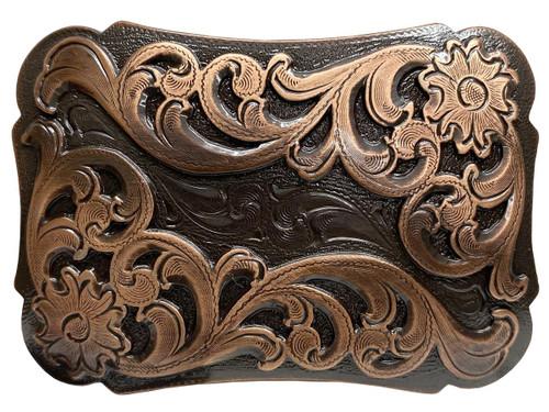 """Western Floral Scroll Engraved Belt Buckle Fits 1-1/2""""(38mm) Belt Strap (Copper)"""