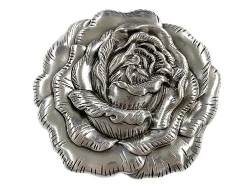 """HA0064 Antique Silver Engraved Rose Belt Buckle Fits 1-1/2""""(38mm) Belt"""
