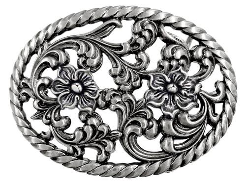 """HA0131-LASRP Antique Flower Engraved Buckle fits 1-1/2"""" Wide Belt"""