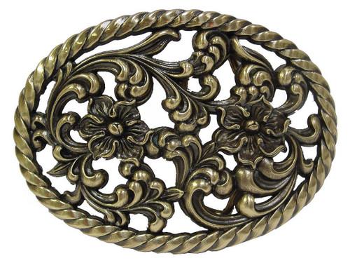 "HA0131-OEB Antique Brass Flower Engraved Buckle fits 1-1/2"" Wide"