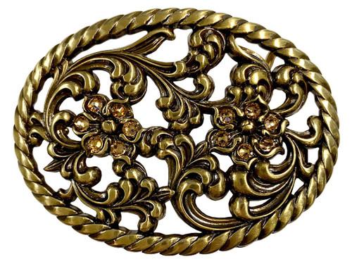 "Antique Brass Flower Engraved Light Colorado Topaz Rhinestone Buckle fits 1-1/2"" Wide Belt"