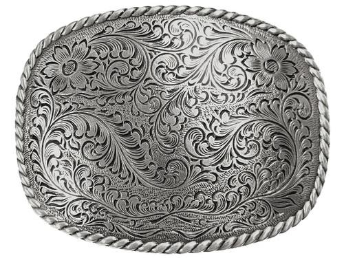 HA0359 Western Antique Floral Engraved Rope Edge Design Belt Buckle