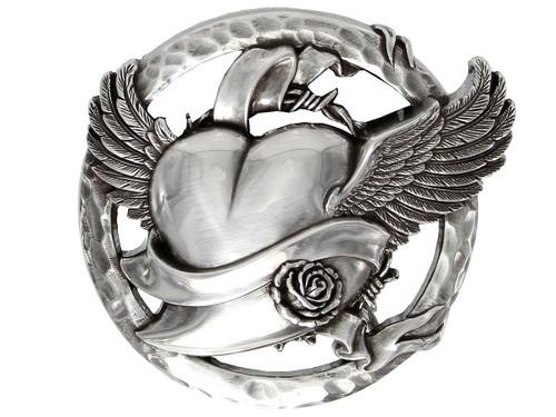 """HA1353 Antique Engraved Flying Heart Belt Buckle Fits 1-1/2"""" Wide Belt"""