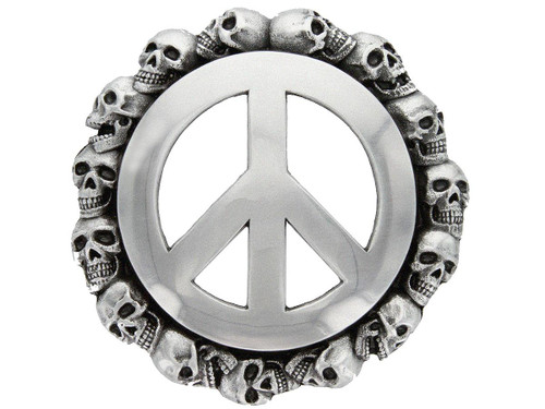 Unique Buckle Antique Peace Sign Skull Engraved Belt Buckle