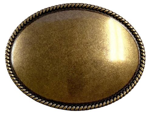"""Antique Brass Rope Edge Engraved Belt Buckle Fits 1 1/2"""" Wide Belt"""