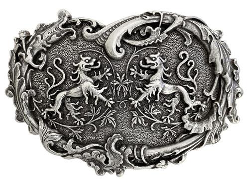 """Unique Buckle Antique Twin Dragons Heart Belt Buckle Fits 1-1/2""""(38mm) Belt"""