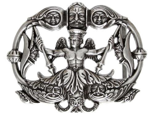 Unique Buckle Antique Silver Engraved Neptune Belt Buckle