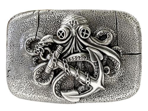 """Antique Silver Octopus Boat Anchor Engraved Belt Buckle fits 1-1/2"""" wide Belt"""