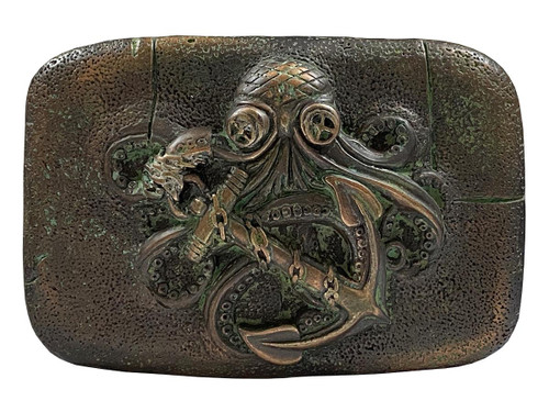 Antique Copper Patina Octopus Boat Anchor Engraved Belt Buckle
