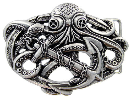 Antique Silver Steampunk Pirate Octopus Kraken Boat Anchor Belt Buckle