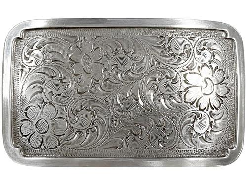 """Antique Silver Western Floral Scroll Engraved Belt Buckle Fits 1-1/2""""(38mm) Belt Strap"""