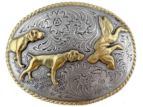 Dogs and Birds Hunting Trophy Western Style Silver and Gold Plate Belt Buckle